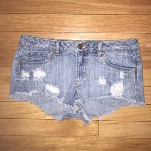 Divided Jean Booty Shorts, Ripped & Frayed